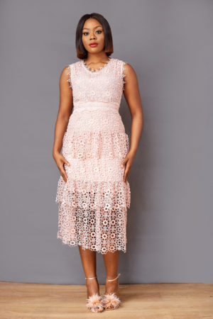 GUIPURE LAYERED DRESS - PINK