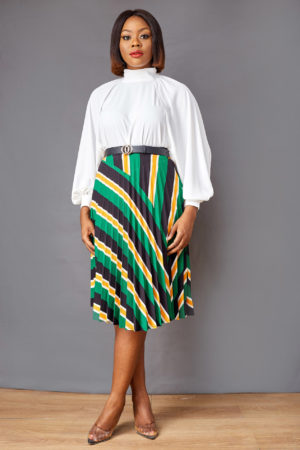 GREEN & CUSTARD STRIPE PLEATED SKATER SKIRT