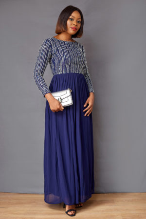 JOVIE NAVY EMBELLISHED MAXI
