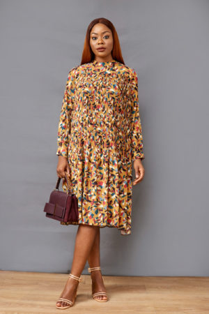 FLORAL PLEATED TUNIC - MUSTARD