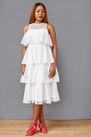 JM LAYERED LACE DRESS - IVORY