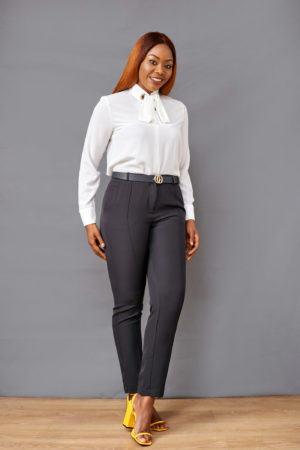 BLACK HIGH WAIST TAILORED PANT