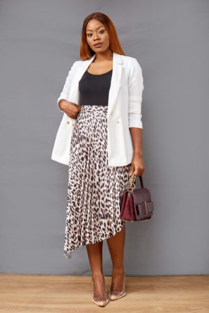 BLACK ANIMAL PRINT ASSYMETRIC PLEATED SKIRT