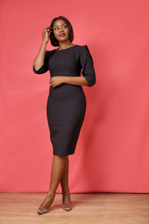 GC STUDDED SLEEVES DRESS - BLACK
