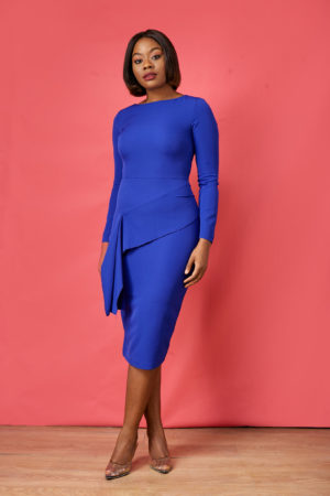 HANNAH WAIST SASH DRESS - COBALT BLUE