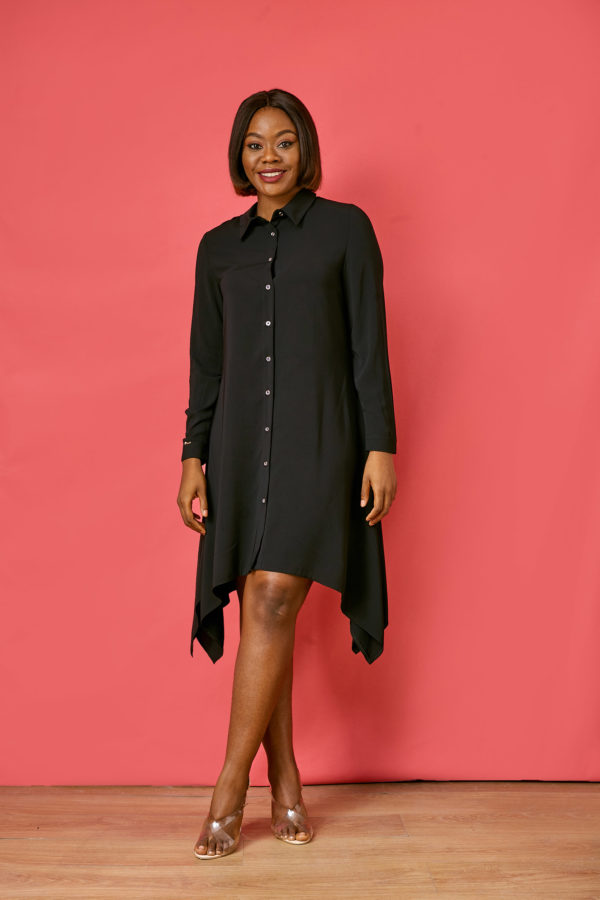 46caaafc8cd7 SET ASYMMETRIC SHIRT DRESS - BLACK| Debras grace | Ladies fashion
