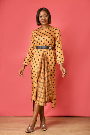CAMEL SPOTTY & GRID PRINT SKATER DRESS