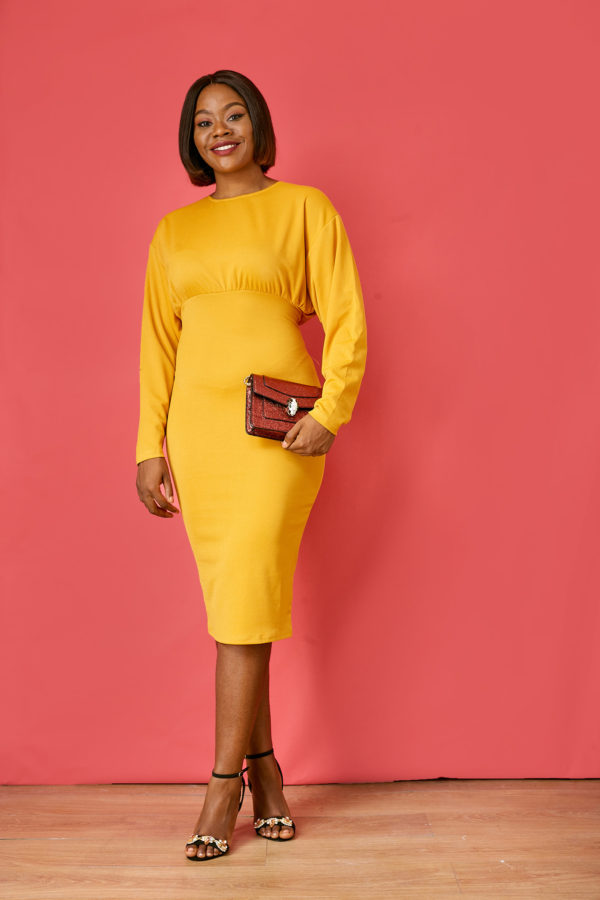 MUSTARD BACK TIE LYCRA DRESS