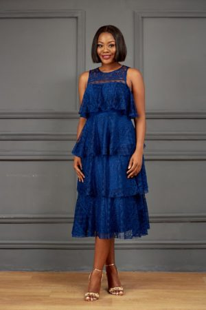 JM LAYERED LACE DRESS - NAVY