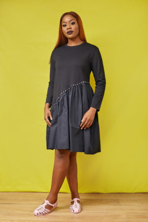BLACK STUDDED JERSEY & COTTON TUNIC