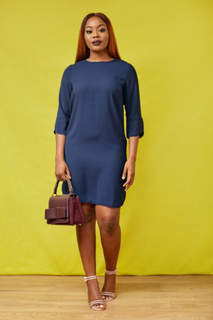 NAVY 3/4 SLEEVE SPLIT SIDE BOX TUNIC