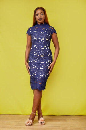 NAVY HIGH NECK GUIPURE DRESS