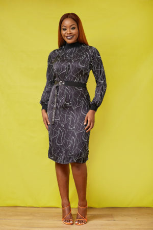 KOTON BLACK SPOTTY BEAUTIFUL DRESS