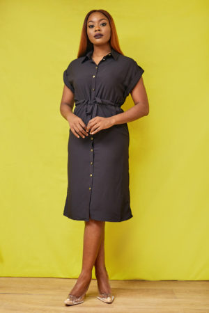 BLACK GOLD BUTTON ROPE INSERT SHIRT DRESS