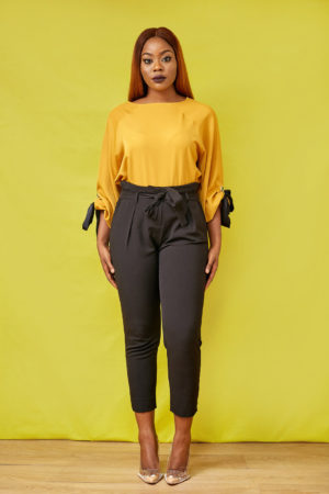 BUBBLE SLEEVE TIE WRIST BLOUSE - MUSTARD