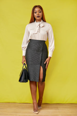 KOTON BLACK PINSTRIPE PENCIL SKIRT