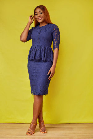 JM LACE PEPLUM PENCIL DRESS - NAVY