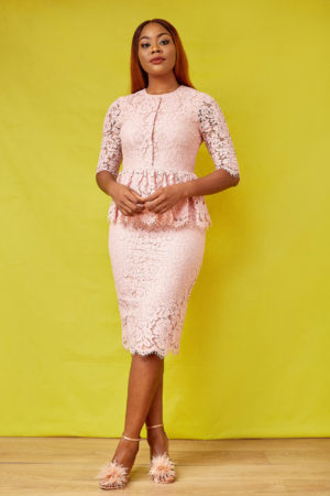 JM LACE PEPLUM PENCIL DRESS - BLUSH