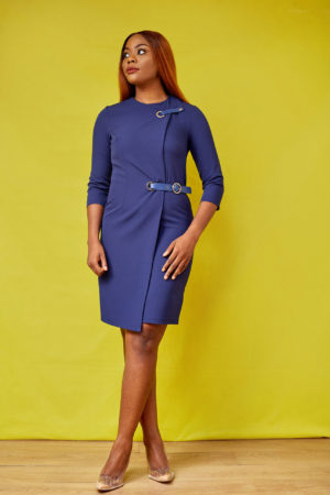 LEATHER BELT INSERT DRESS - NAVY