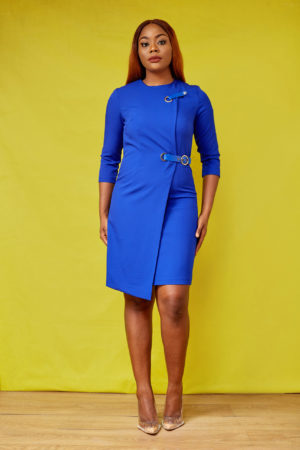 LEATHER BELT INSERT DRESS - COBALT BLUE
