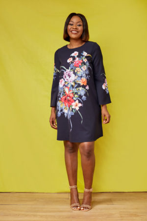 G FLORAL FLARE SLEEVE TUNIC - BLACK