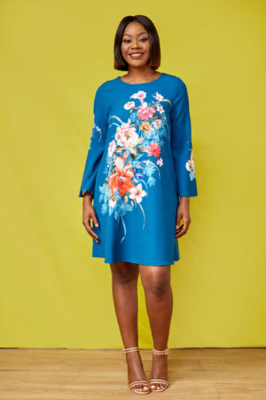 G FLORAL FLARE SLEEVE TUNIC - PETROL