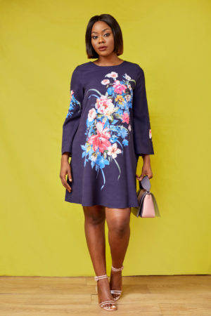 G FLORAL FLARE SLEEVE TUNIC - NAVY
