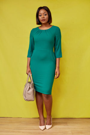 CREPE 3/4 SLEEVE PENCIL DRESS - GREEN
