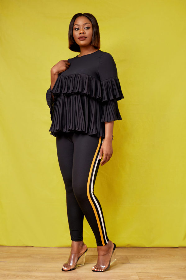 LAYERED PLEATED BLOUSE - BLACK
