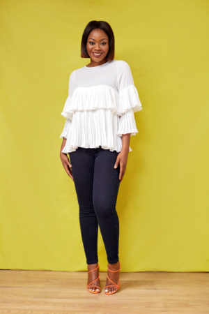 LAYERED PLEATED BLOUSE - IVORY