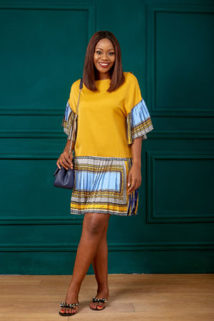 YELLOW TRIBAL PRINT SLEEVE & HEM TUNIC